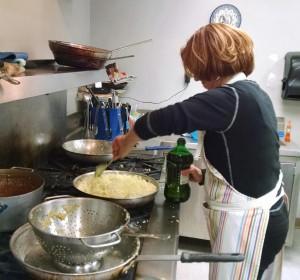 June Zimmerman cooking onions