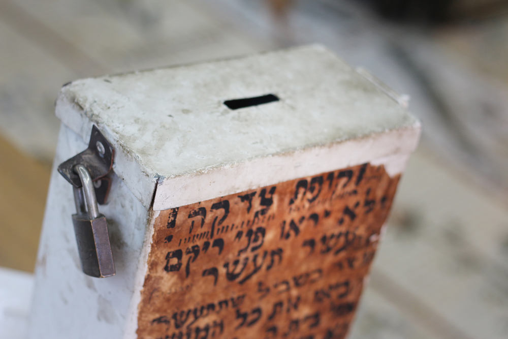 Old metal box for donations in a Jewish synagogue