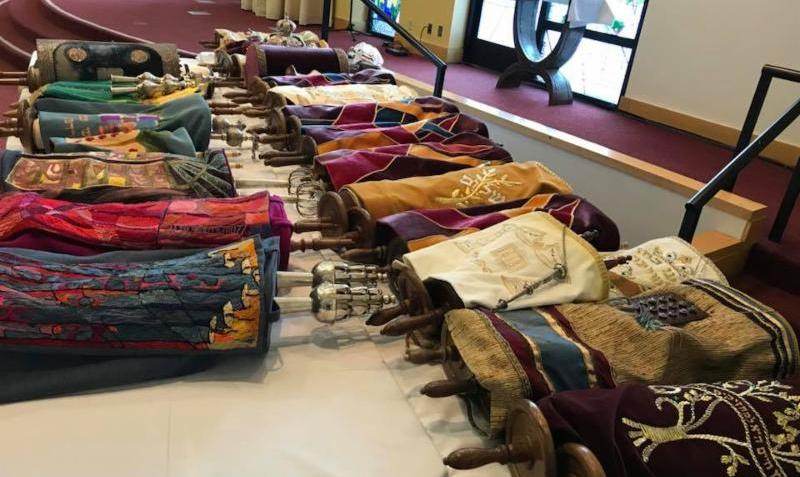 Sifrei Torah (Torah Scrolls)  endangered by fires in California being temporarily housed at Valley Beth Shalom Synagogue in Encino, CA