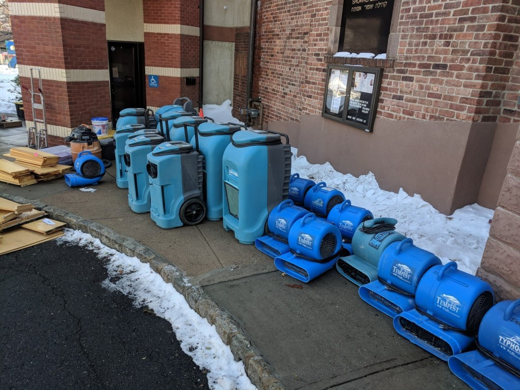 An army of dryers and wet vacs