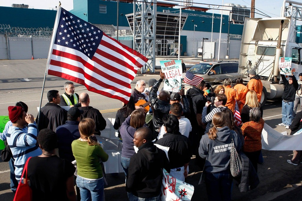 Protesters have targeted the Essex County Correctional Facility, which holds about 800 people who have been arrested on immigration charges. Photo credit: Mel Evans/Associated Press