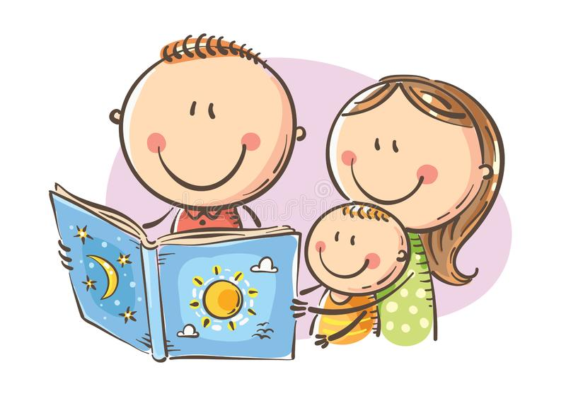 happy-family-reading-book-together-vector-illustration-cartoon-mother-father-son-childs-drawing-126432566