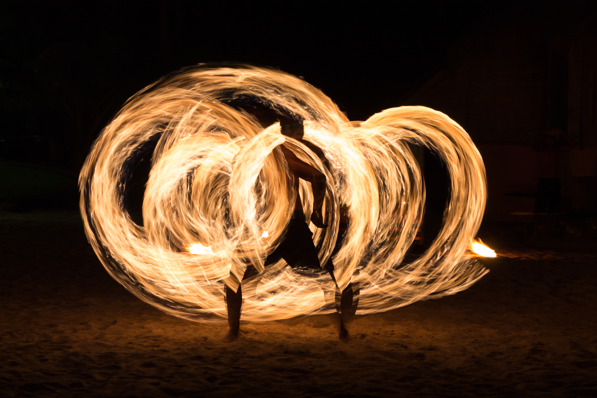 Man Fire Show on the beach